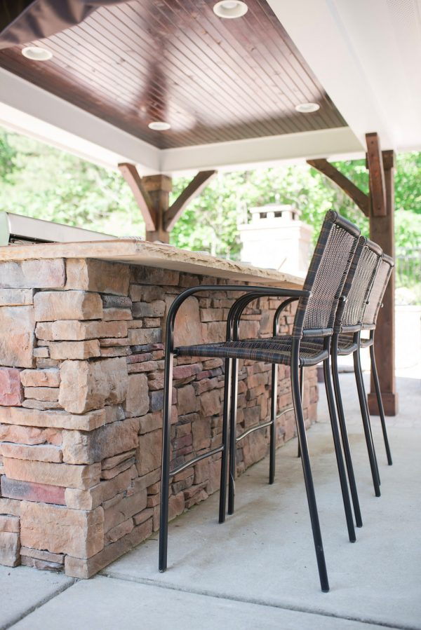 Outdoor Kitchen with Stone Island, Pavilion with Wood Ceiling