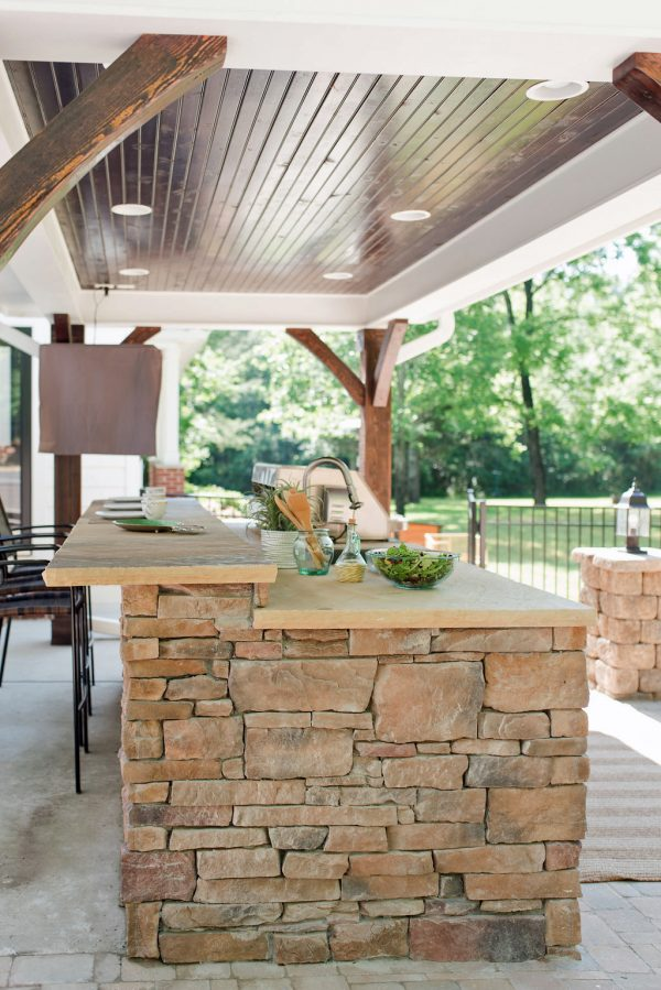 Outdoor Kitchen Under Pavilion with Wood Ceiling, TV and Lighting