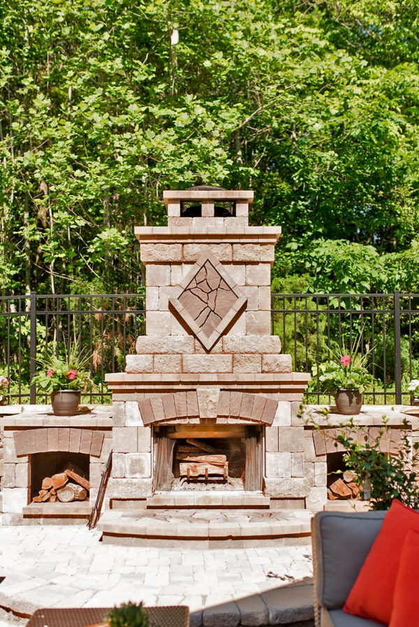Outdoor Stone Fireplace with Wood Storage